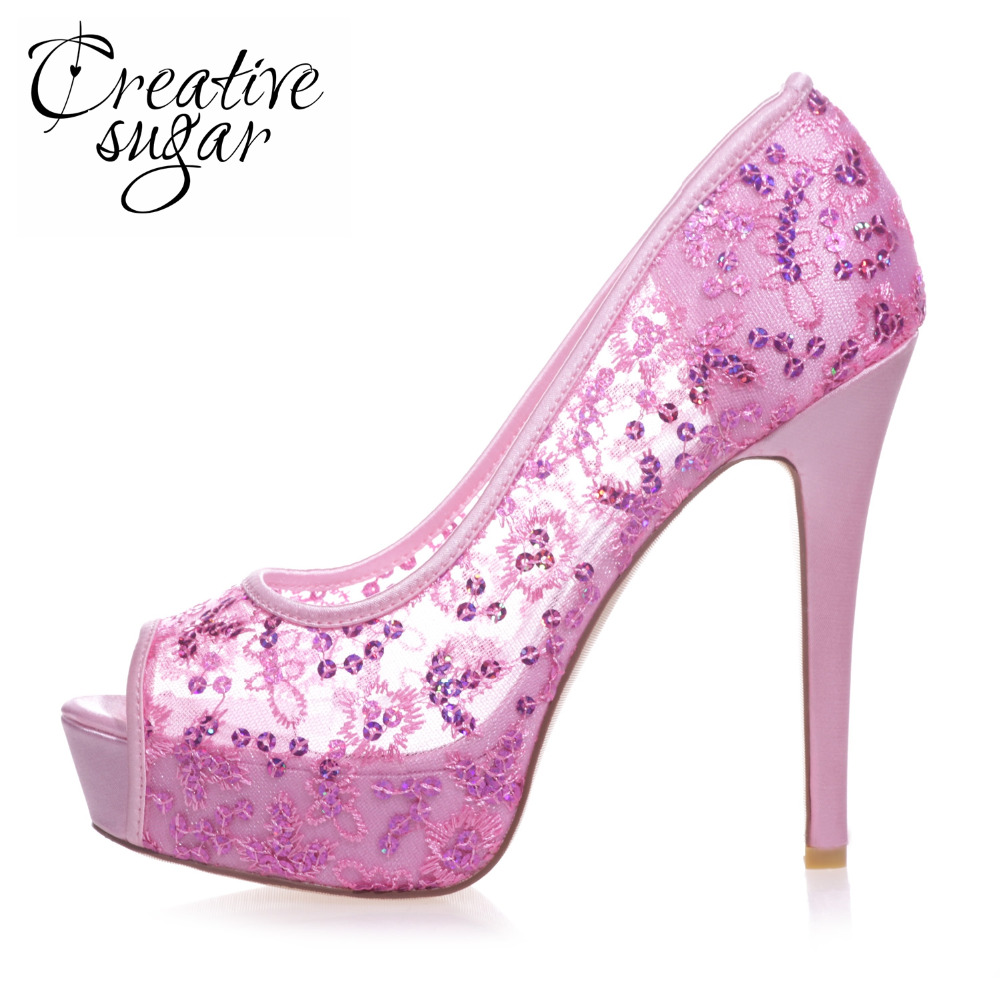 Creativesugar Sexy high heel see through lace sequins stiletto open toe woman dress shoes wedding party prom sky blue hotpink клепки для одежды three creations 500 9 80439