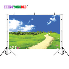 SHENGYONGBAO Art Cloth Photography Backdrops Props Blue sky and white cloud forest theme Photo Studio Background SML-0025