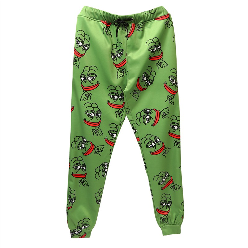 3D Pepe The Frog Joggers Pants Men/Women Funny Cartoon Sweatpants 2019 New Trousers Jogger Pants Elastic Waist Pants Dropship(China)