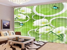 Green Dreamy Delicate Calla Lily Blue Butterfly 3D Floral Curtain Wholesale Customize Your Satisfaction Beautiful
