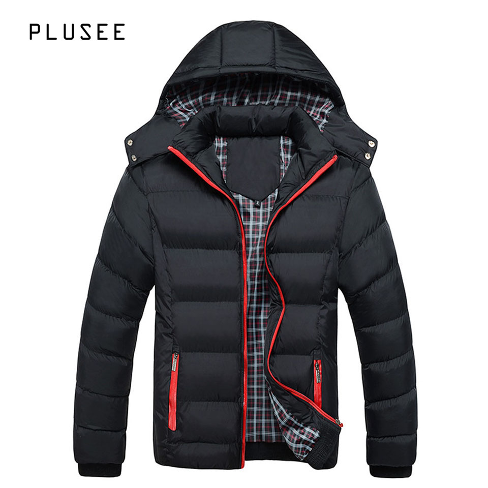 Plusee hooded parka font b men b font winter jacket casual font b men s b