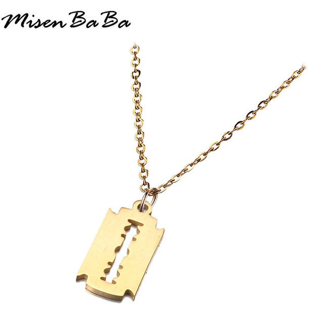 Stainless Steel Gold Silver Color thin Chain Necklace Geometric Tag Pendant Necklace For Women Men birthday gift Jewelry