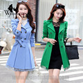 WomensDate New Fashion Autumn Winter trench coat Lace Waistband Slim Trench Coat Fashion Windbreaker Women's Trench Coat 9 color
