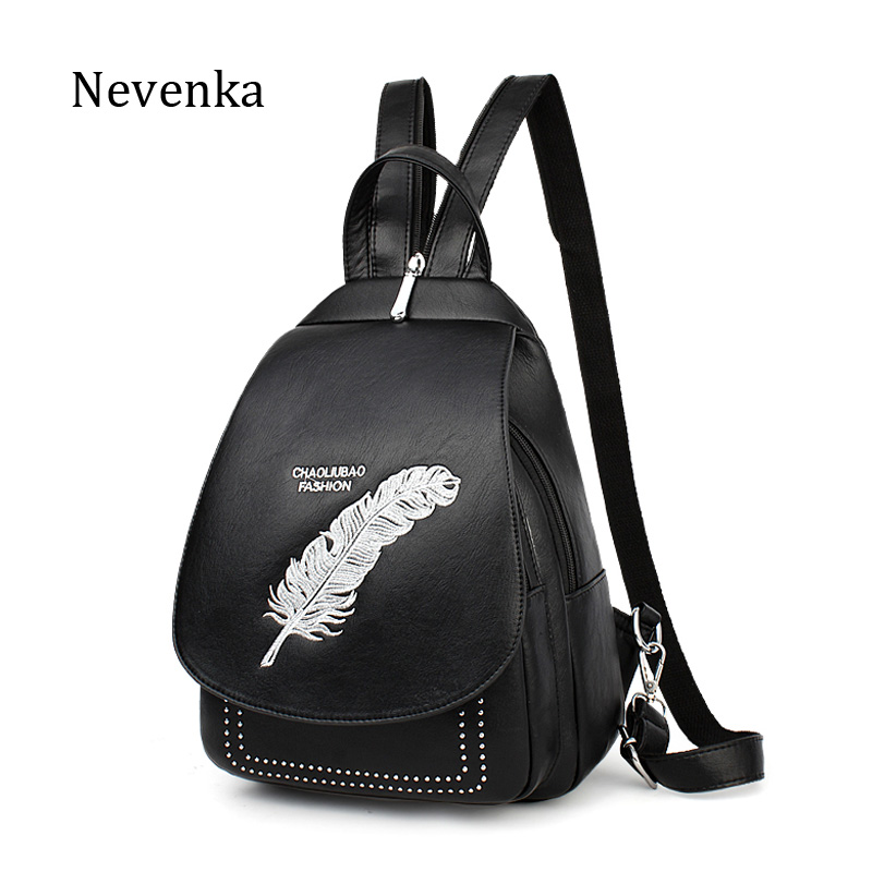 NEVENKA Women Feather pattern Backpack Female Fashion Printing Daily Shoulder Bag For Girl Casual School Bags Lady Small Pocket