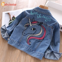 New Kids Denim Jacket For Girls Cute Unicorn Clothes Full Sleeve Little Clothing Letters Print Baby Girl Fall