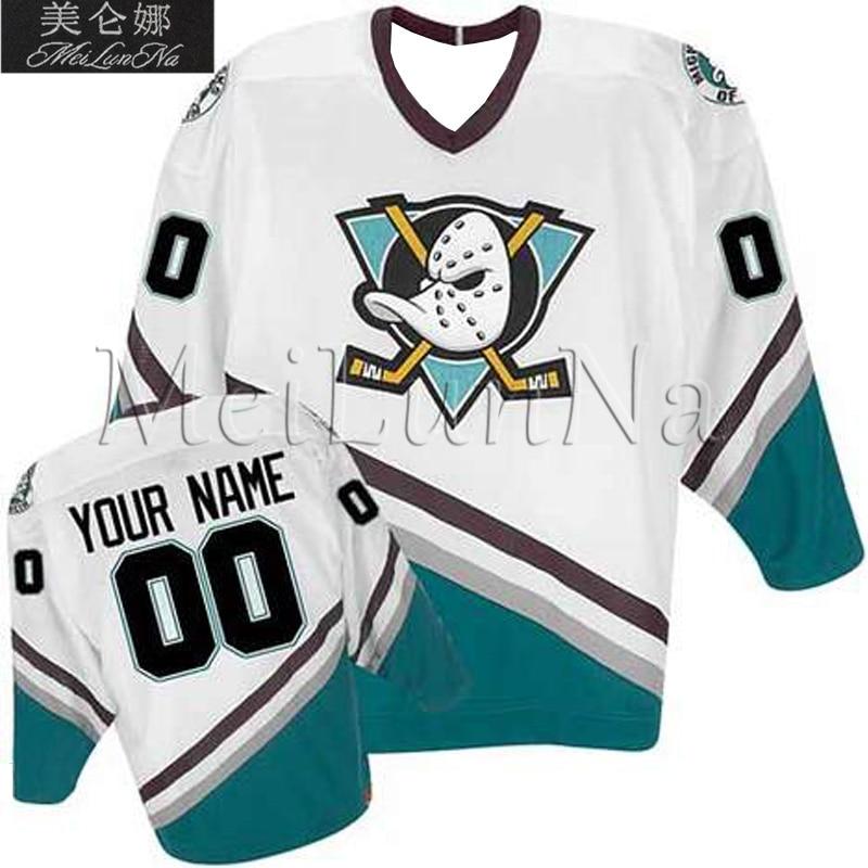 MeiLunNa Anpassen Mighty Ducks Trikots 8 Teemu Selanne 9 Paul Kariya Blank Weiß Lila Grün Schwarz Genäht Auf Jeder Name NO. Größe