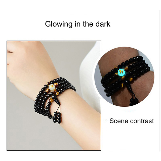 BOEYCJR Dragon Black Buddha Mala Beads Bangles&Bracelets Handmade Ethnic Glow in the Dark Bracelet 2