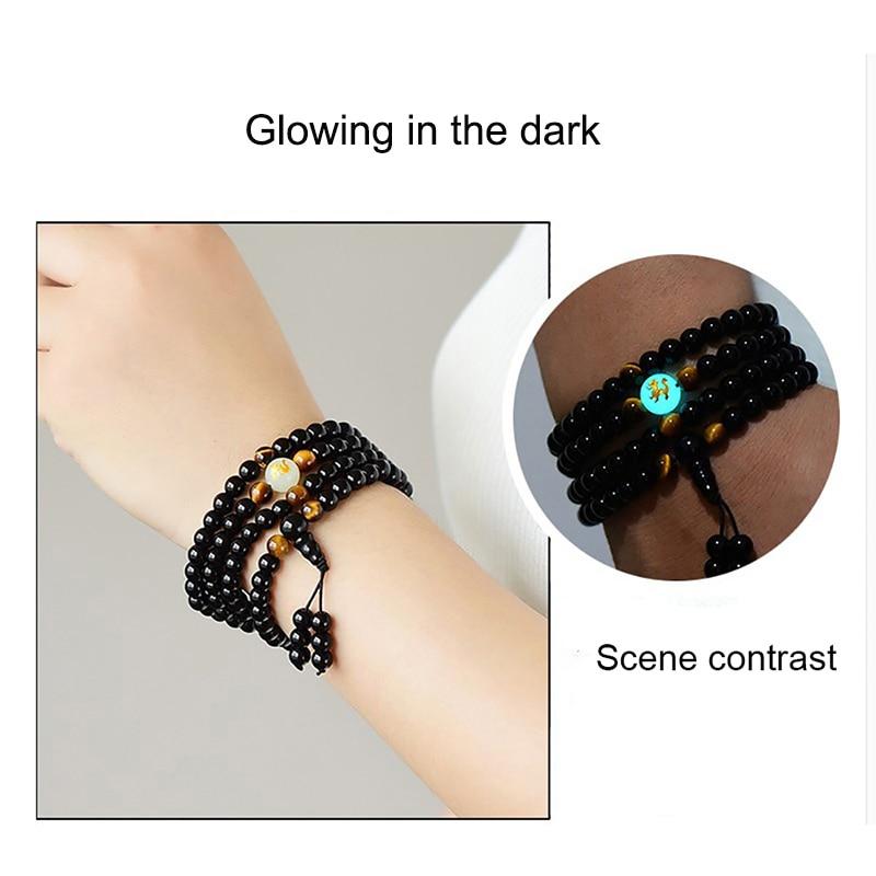 BOEYCJR Dragon Black Buddha Mala Beads Bangles&Bracelets Handmade Jewelry Ethnic Glow In The Dark Bracelet For Women Or Men 2019
