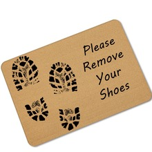 MDCT Please Remove Your Shoes Welcome Mats Footprint Pattern Anti-slip Rubber Floor Mats Area Rugs Kitchen Bath Carpet 45x70cm