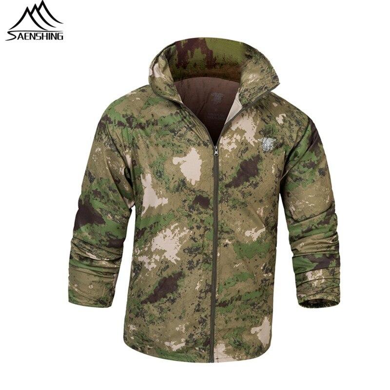 Saenshing уличная водонепроницаемая куртка мужская кожа дождь куртка Camo охотничья одежда Дышащие военно-тактические куртка ветровка