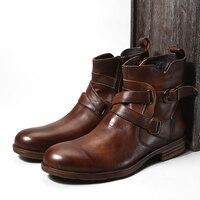 Модные мужские ботинки из натуральной кожи в винтажном стиле; короткие ботинки на молнии сзади с пряжкой; Лидер продаж