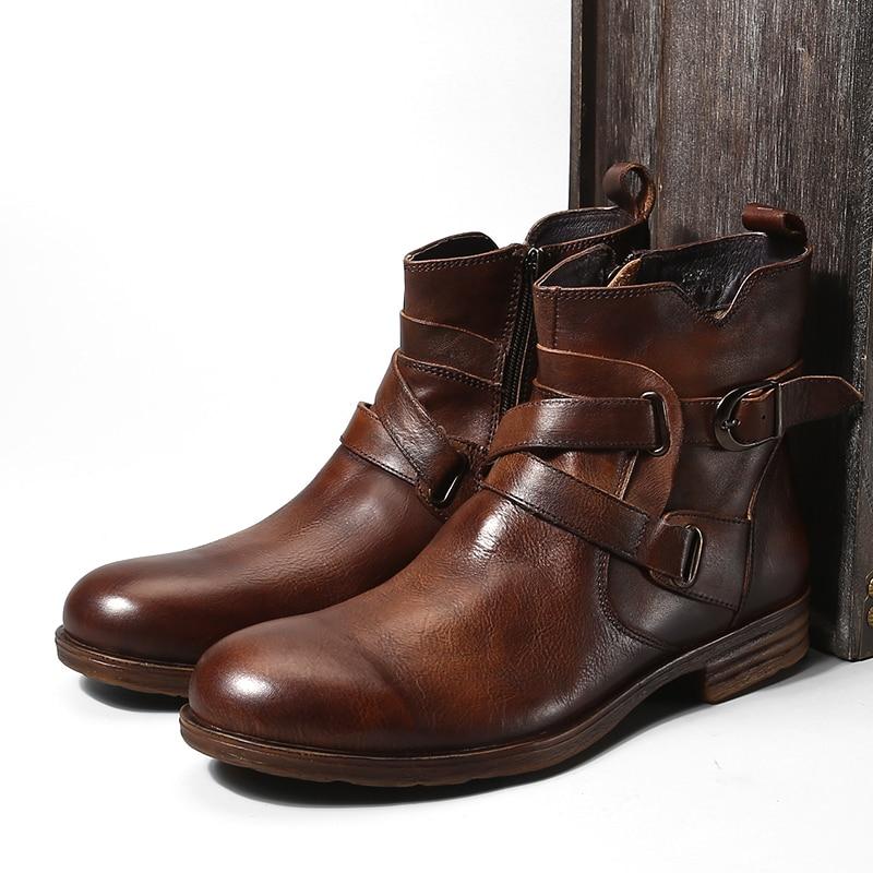 Mode Vintage Stil Aus Echtem leder Herren Stiefel Zurück Zipper Schnalle Kurze Stiefel Heißer-in Chelsea Boots aus Schuhe bei  Gruppe 2
