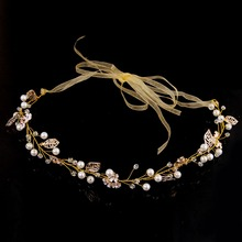 TUANMING Fashion Gold Wedding Hair Accessories Pearl Crystal Flower Headband Tiara Hair Jewelry For Women Bridal Hairwear Hot