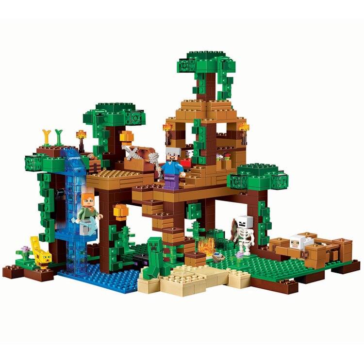 718 pcs La Jungle Arbre Maison Minecrafted Blocs De Construction enfants Jouets Pour Enfants anniversaire Compatible Legoed Minecrafted 10471