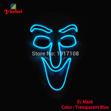 2019 Newest EL wire Trendy Carnival terror glowing Mask,The witch Mask LED Neon Glowing Party Halloween Supplies+DC-3V Driver