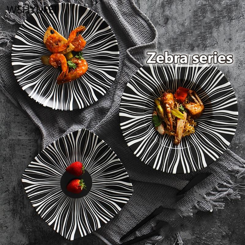 Direct Glaze Color Ceramic Zebra Retro Series Tableware Matte Black And White Line Western Steak Breakfast Pizza Cake Plate