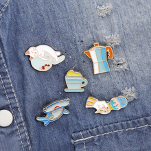 Fuuny Cat Fish Ice cream Teacup cup badge brooch Lapel pin Jeans shirt Cartoon Jewelry Gift Coffee Lovers