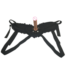 camaTech Realistic Dildo Panties For Women Lesbian Black Lace Strap On Penis Harness Strapon Pants With Silicone Anal Plug