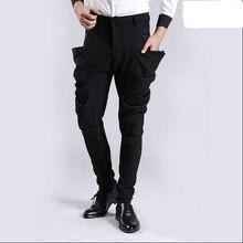 Hot 2015 new Four seasons men's Feet harem pants tide young male Slim nightclub hairstylist pants sagging pants non-mainstream