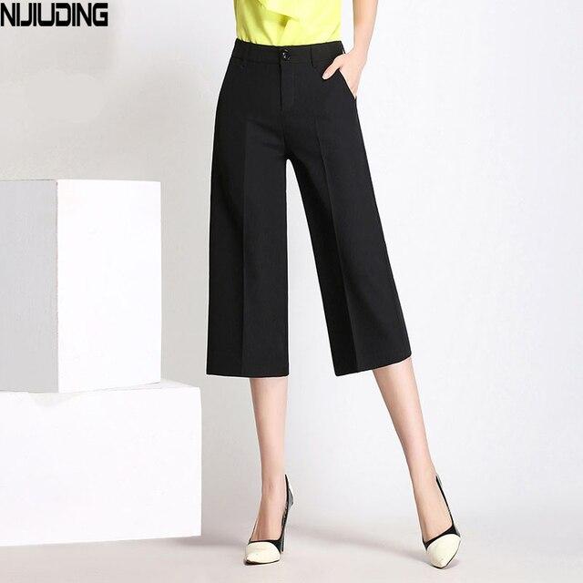a980f34cbc0 NIJIUDING Letnie Cielę Długości Spodnie Kobiet Przypadkowy Luźne Spodnie  Szerokie Nogawki Wysokiej Talii Elastyczne Spodnie Harem