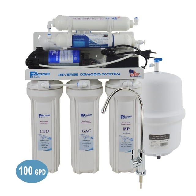 6 Stage Household Under Sink Reverse Osmosis Drinking Water Filter System with Alkaline Remineralization Natural pH   100GPD