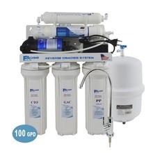 جهاز تنقية مياه الشرب المنزلي 6 مراحل تحت المغسلة بالتناضح العكسي مع خاصية التذكر القلوي pH 100GPD