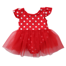 Summer 2019 Lovely Toddler Baby Girls Polka Dot Tulle Tutu Lace Romper Kids Red Party Sunsuit Jumpsuit Clothing