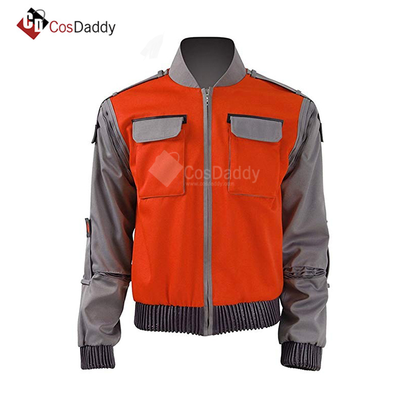 Back To The Future Cosplay Costume Jr Marlene Seamus Marty McFly Jacket Orange Outwear Coat volver