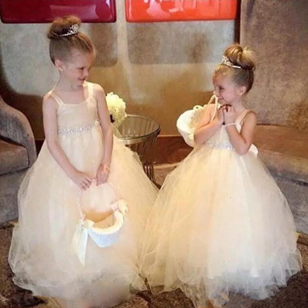 Cute Champagne Tulle Flower Girl Dresses Ball Gown Tutu Crystal Bow Spaghetti Straps with Long Train