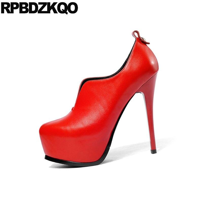 Stripper Handgemachte Exotic Kappe High orange Dancer Super Schuhe rot Damen Extreme Gothic Pumpen Ultra Heels Fetisch Runde Rot Schwarzes Scarpin Plattform vqwz4Cq
