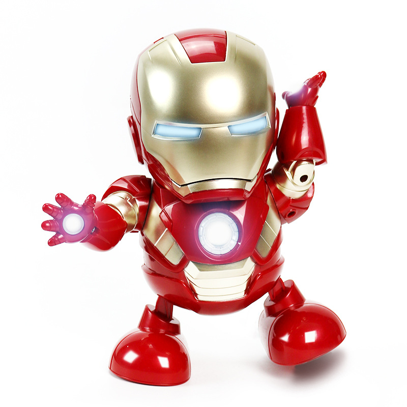 Electronic toys can dance iron man Marvel Avengers movie figure toy with flashlight and light sound music robot Iron Man hero in Action Toy Figures from Toys Hobbies