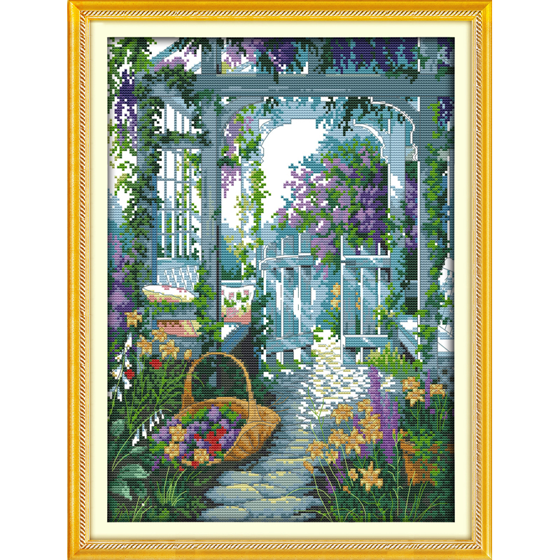 Everlasting love The garden gate Chinese cross stitch kits Ecological cotton stamped 11 CT 14 CT Christmas New store promotion
