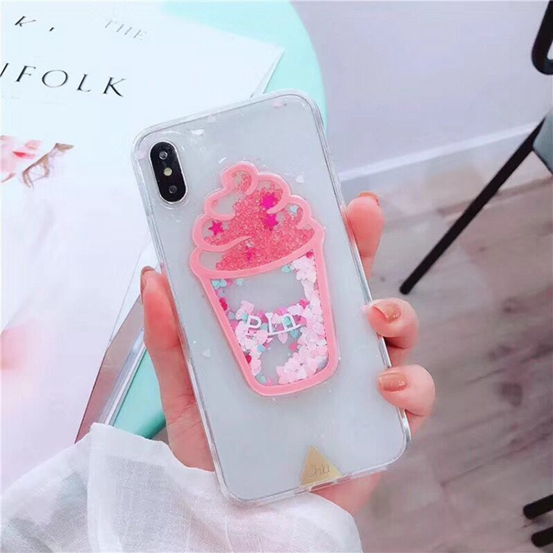 Cute Pink Glitter Bling Ice Cream Phone cases for iphone X XS MAX XR 7 8 6 s Plus Love Heart Sequin Summer Soft TPU Back Cover