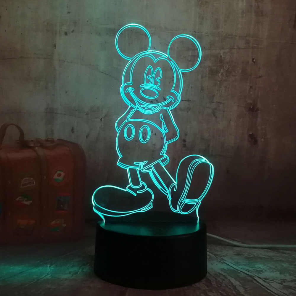 Мультфильм очаровательные комбинезоны с рисунком «Микки Маус» Мышь 3D светодиодный ночной Светильник Иллюзия Новинка светодиодные настольные лампы для дня рождения, рождественский подарок для детей, дети, домашний декор