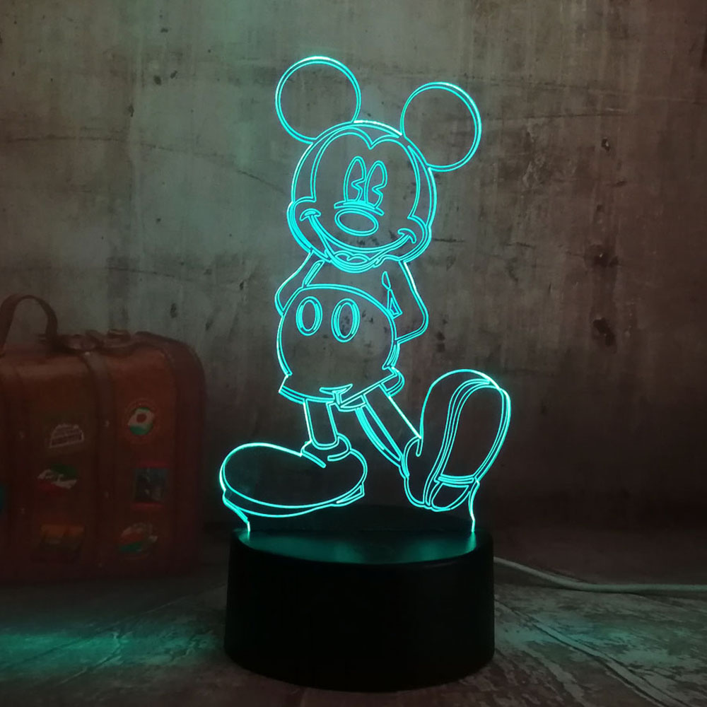 Cartoon Cute Mickey Mouse 3D LED Night Light illusion Novelty Table Desk Lamp Birthday Christmas Gift for Child Kids Home Decor novelty 3d minions night light led table lamp touch desk lighting colorful for child baby gift birthday party bedroom home decor