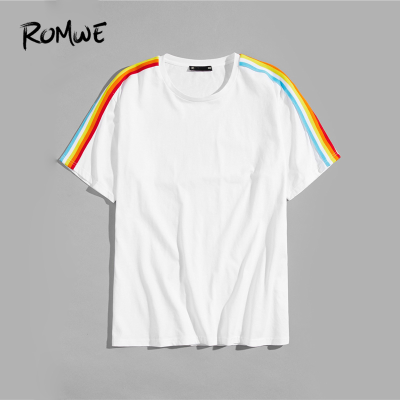 58a068a7be ROMWE Men Rainbow Striped Side Tee 2019 Posh White Summer Round Neck Short  Sleeve T Shirts