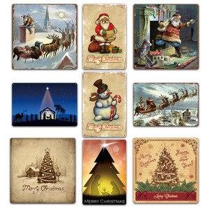 Image 3 - Feliz Natal Papai Noel Presente Alce Windbells Esqui Batismo Retro Placas de Lata de Metal Arte Da Parede Home Decor Poster Ferro para bar Pub