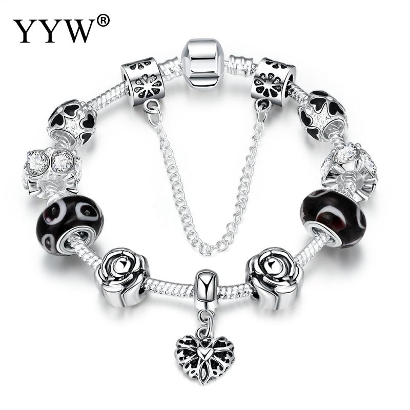2017 BLACK FRIDAY European Charm Beads Bracelet & Bangle AuthenticHeart Chain Bracelets for Women Girls DIY Silver Color Jewelry