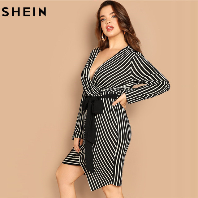SHEIN Black and White Plus Size Deep V Neck Striped Dress Asymmetrical Hem Women Workwear Going Out Elegant Dresses 2
