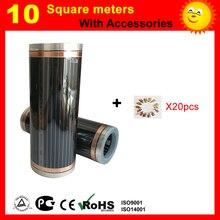 TF 10 квадратных метров инфракрасное Отопление фильм, AC220V пол, пленочный 50 см x 20 м с серебряной клипы