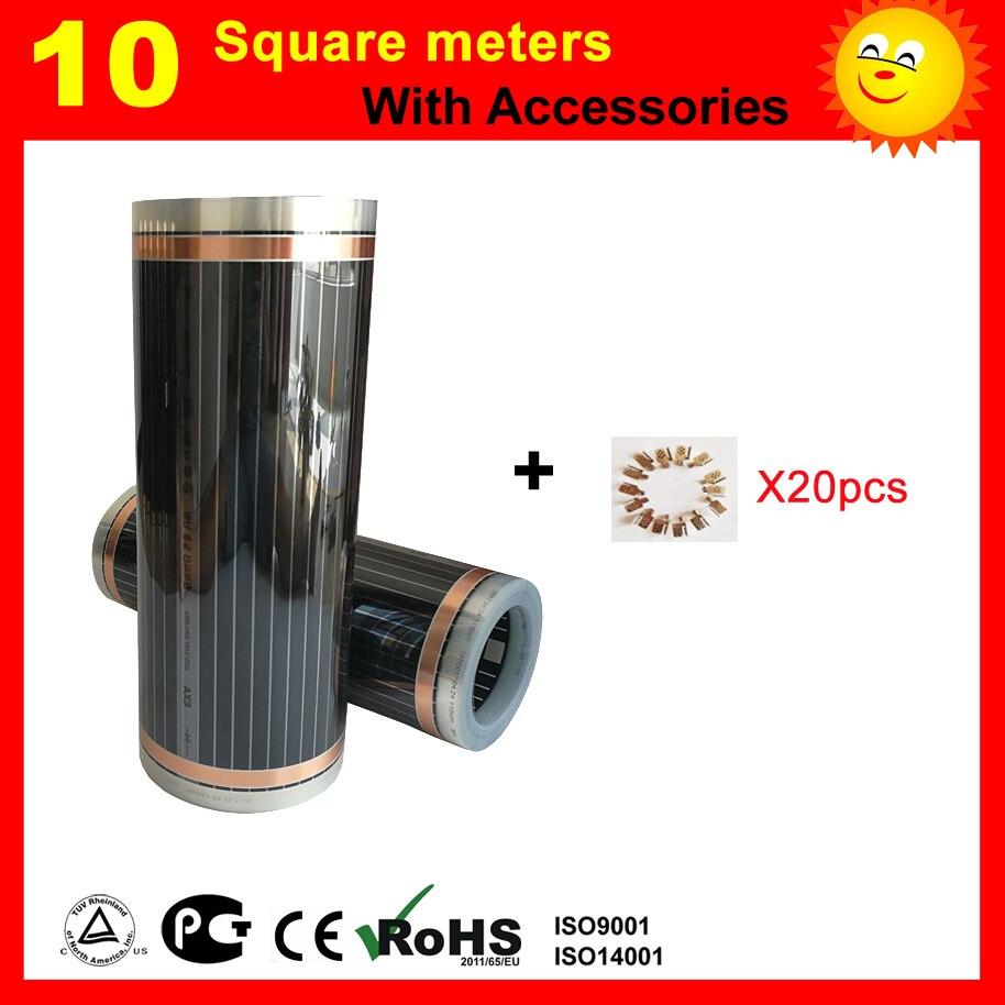 TF 10 metro Quadrado filme de Aquecimento do Infravermelho distante, filme de aquecimento piso AC220V 50 cm x 20 m com clips de prata