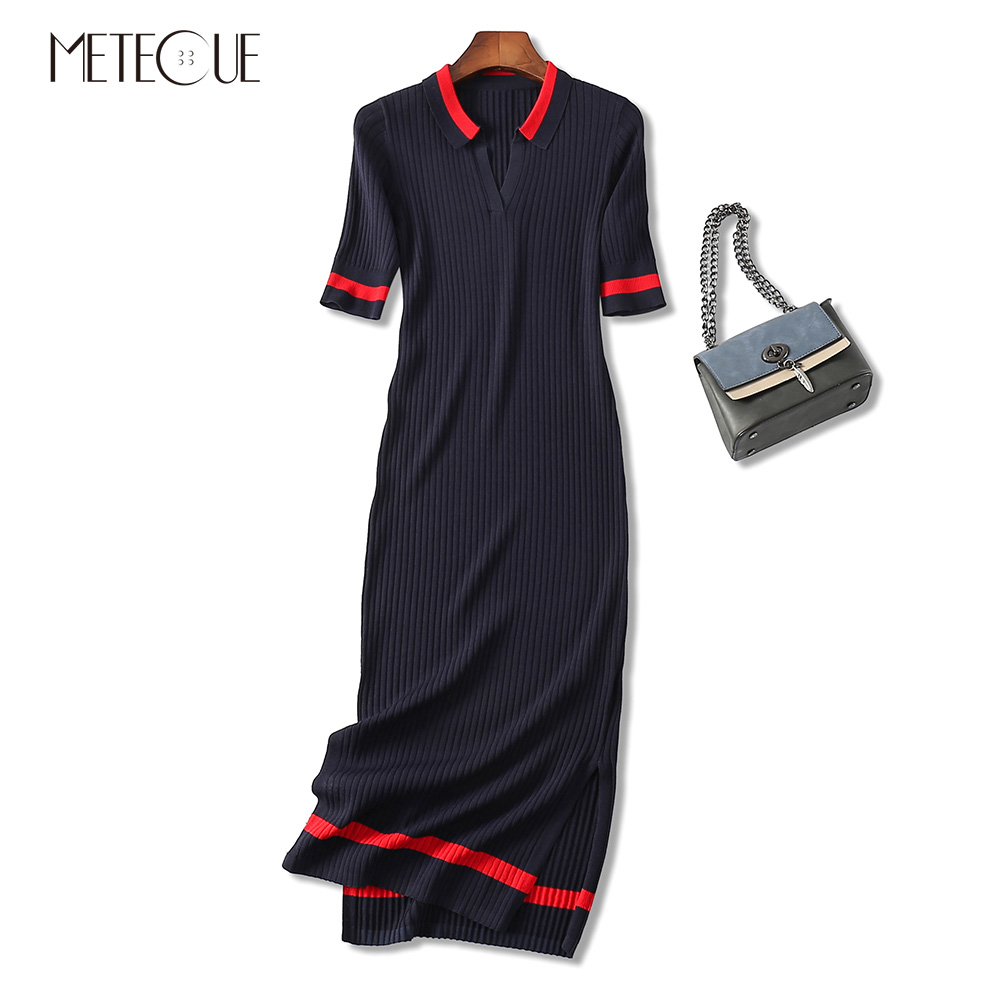 Hit Color Stripe Hem Split Turn-down Collar Short Sleeve Sexy Women Knitted Bodycon Dress Spring Summer Ladies Midi Dresses 2018