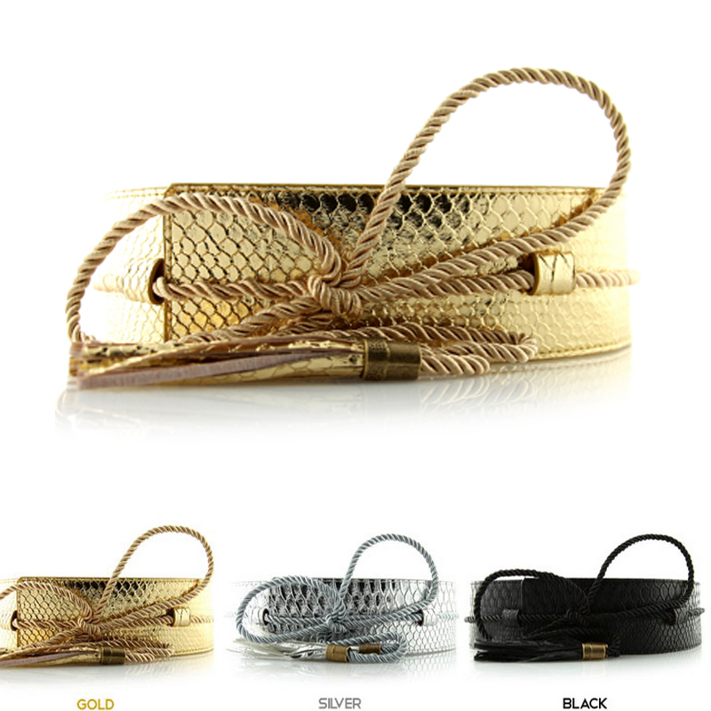 2019 Hot Fashion brand Belts for women clothing PU Leather belt female Wide tassel strap Gold waistband Woman High quality