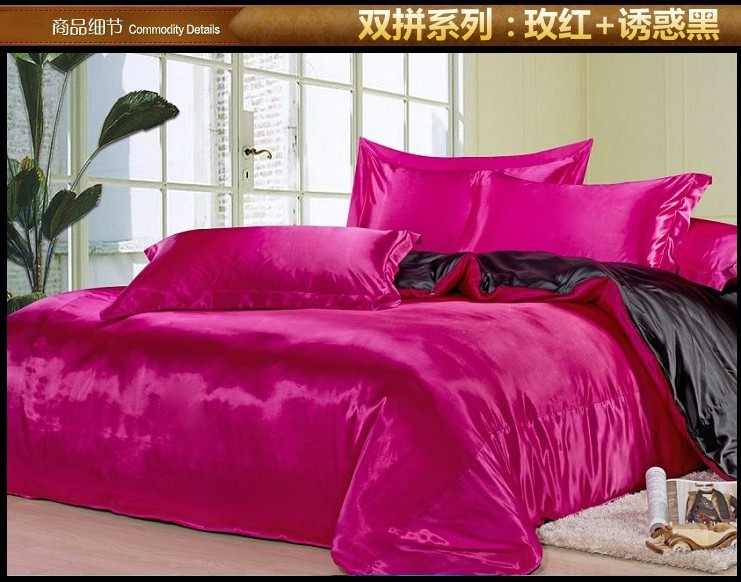 Luxury Black Hot Pink Silk Satin Bedding Set Sheets Queen Quilt Duvet Cover Super King Size