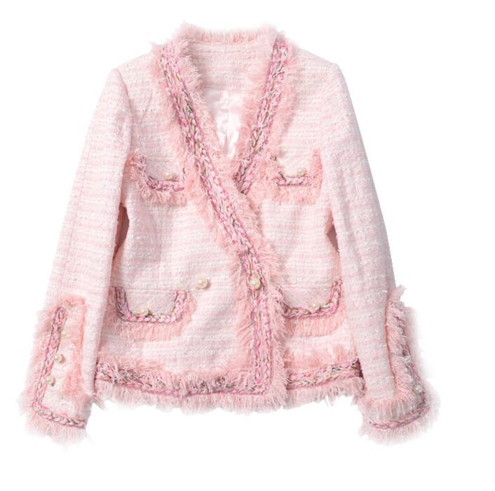2017 hiver sieste rose tweed petite veste à manches longues col V réel mince fille