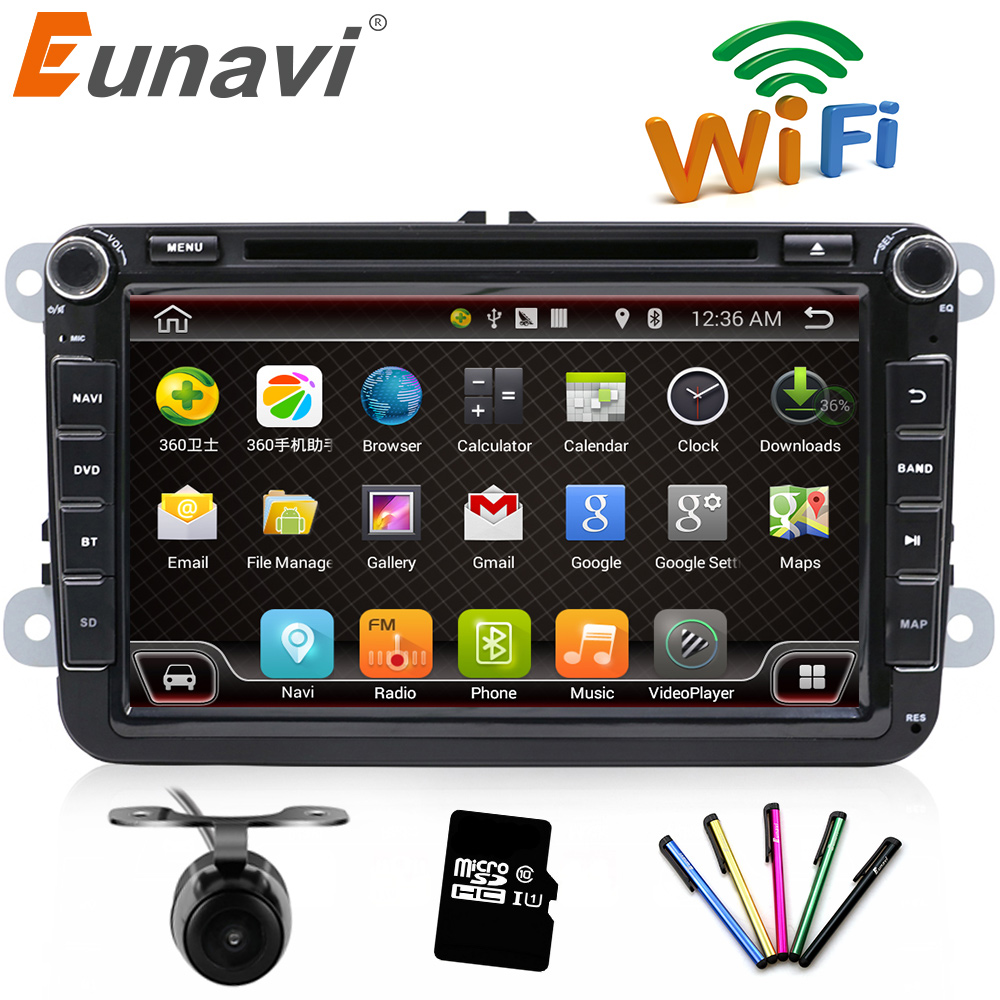 цена на Eunavi 2 Din 8 inch Quad core Android 6.0 car dvd for VW Polo Jetta Tiguan passat b6 cc fabia mirror link wifi Radio CD in dash