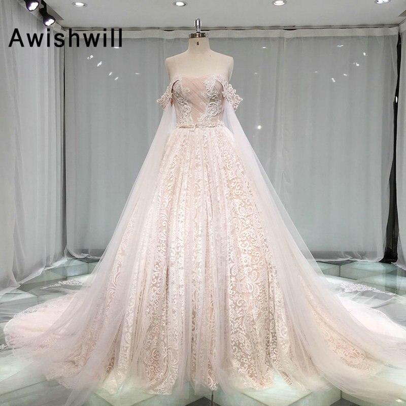 Vestido De Noiva 2019 Vintage Wedding Dress Lace Strapless Corset Back A-line Modest Bridal Gown Casamento Mariag Robe De Mariee