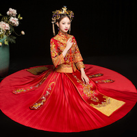 RED Oriental Style Women Wedding Cheongsam Traditional Chinese Bride Dress Marriage Suit Oversize S 3XL Embroidery Qipao