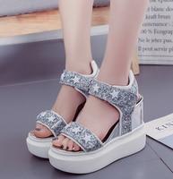 Women S Sandals 2017 New Summer Shoes Woman Sequins Platform Wedges Ladies High Heels Heel 12