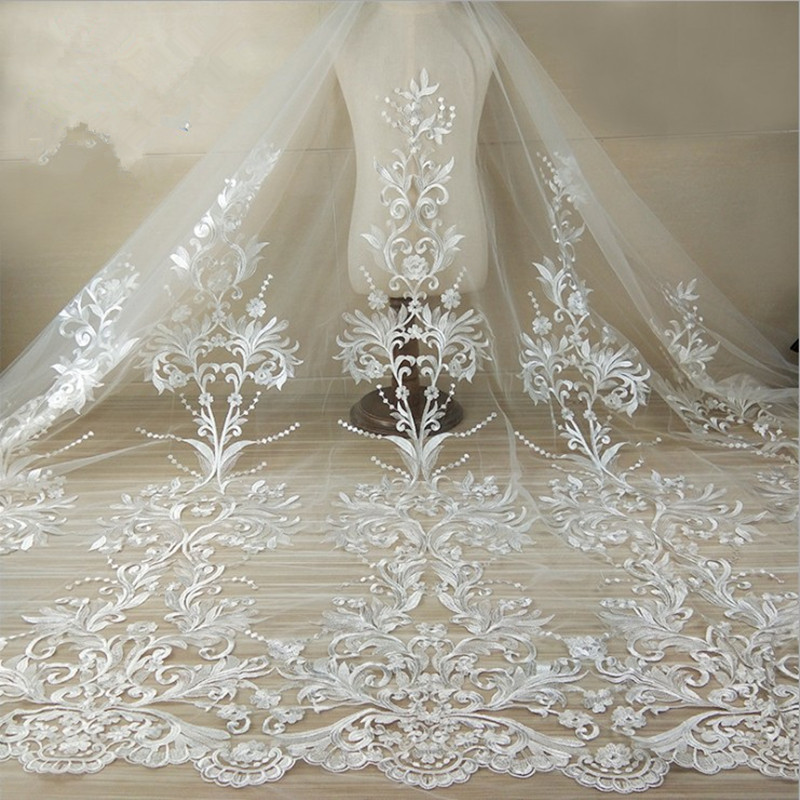HIGH QUALITY GOREGOUS EMBROIDERED BRIDAL DRESS MESH LACE FABRIC